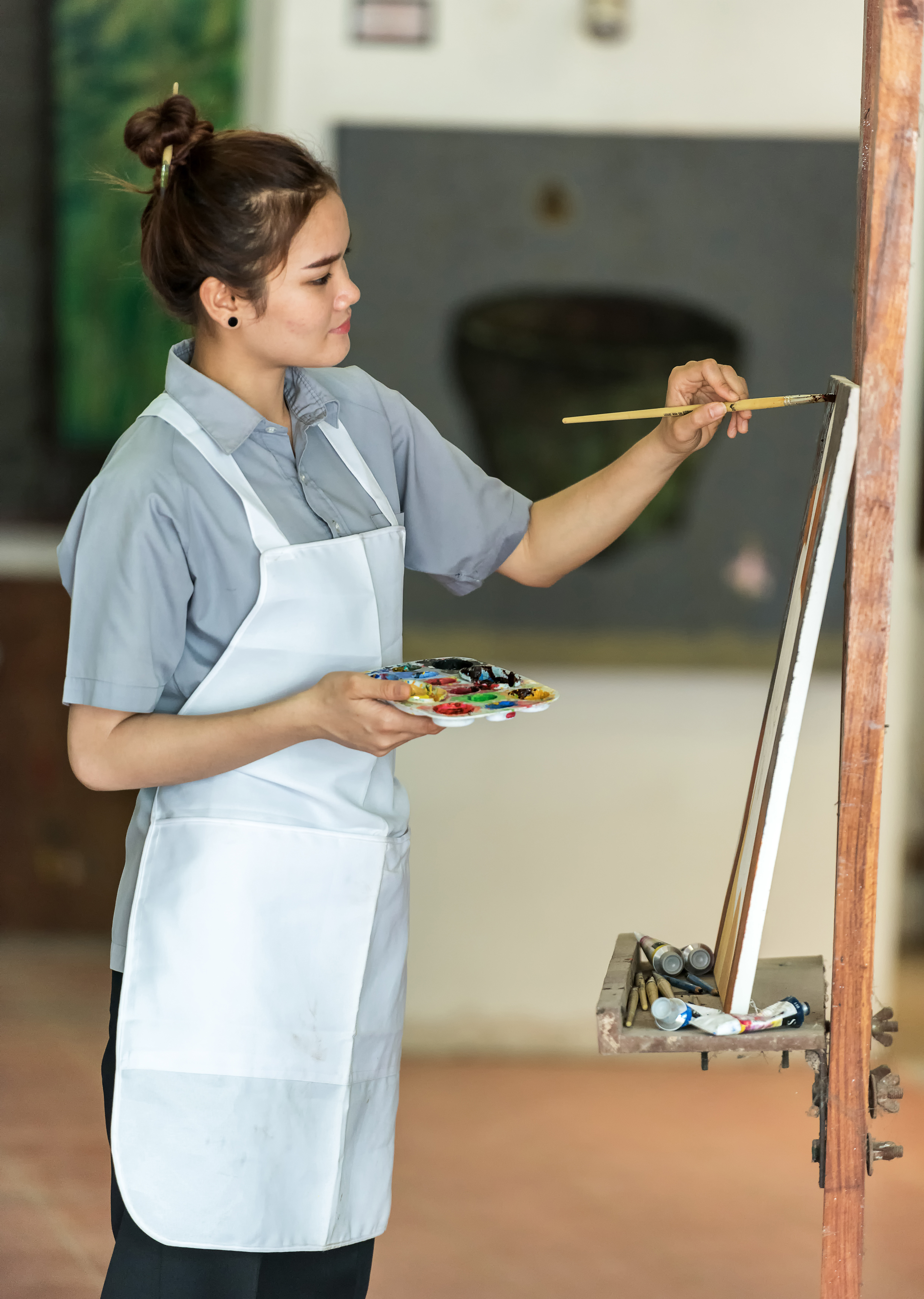 Artist, woman, young, draw, painting