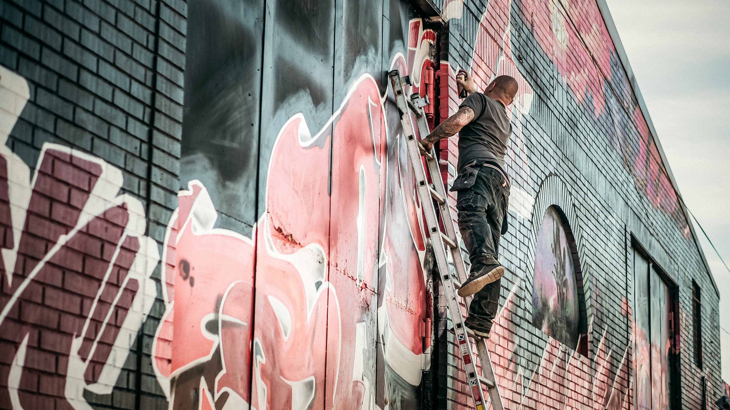 Artistic,ladder,paint,person,male