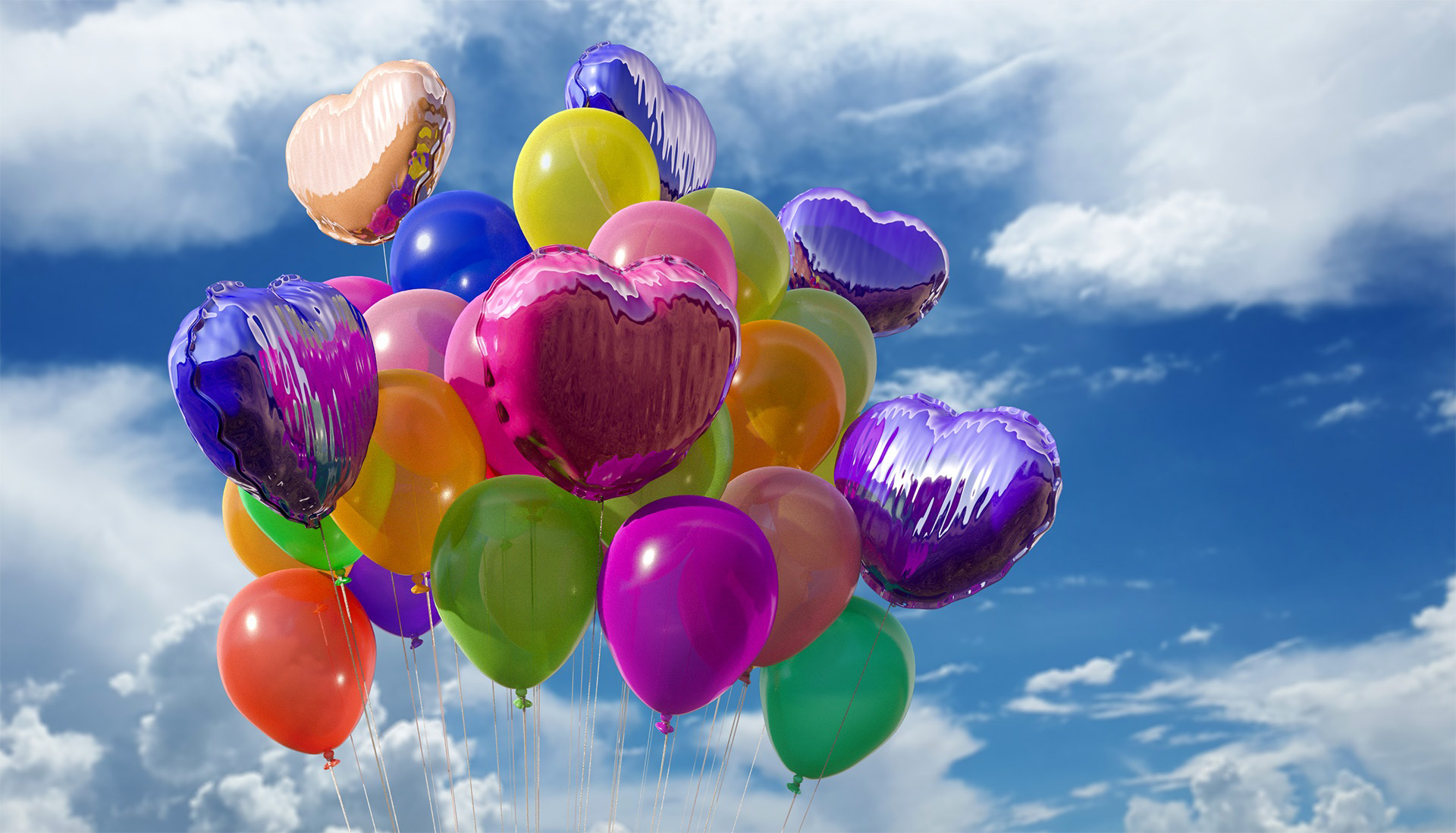 balloon, party, colorful, bunch, cloud,