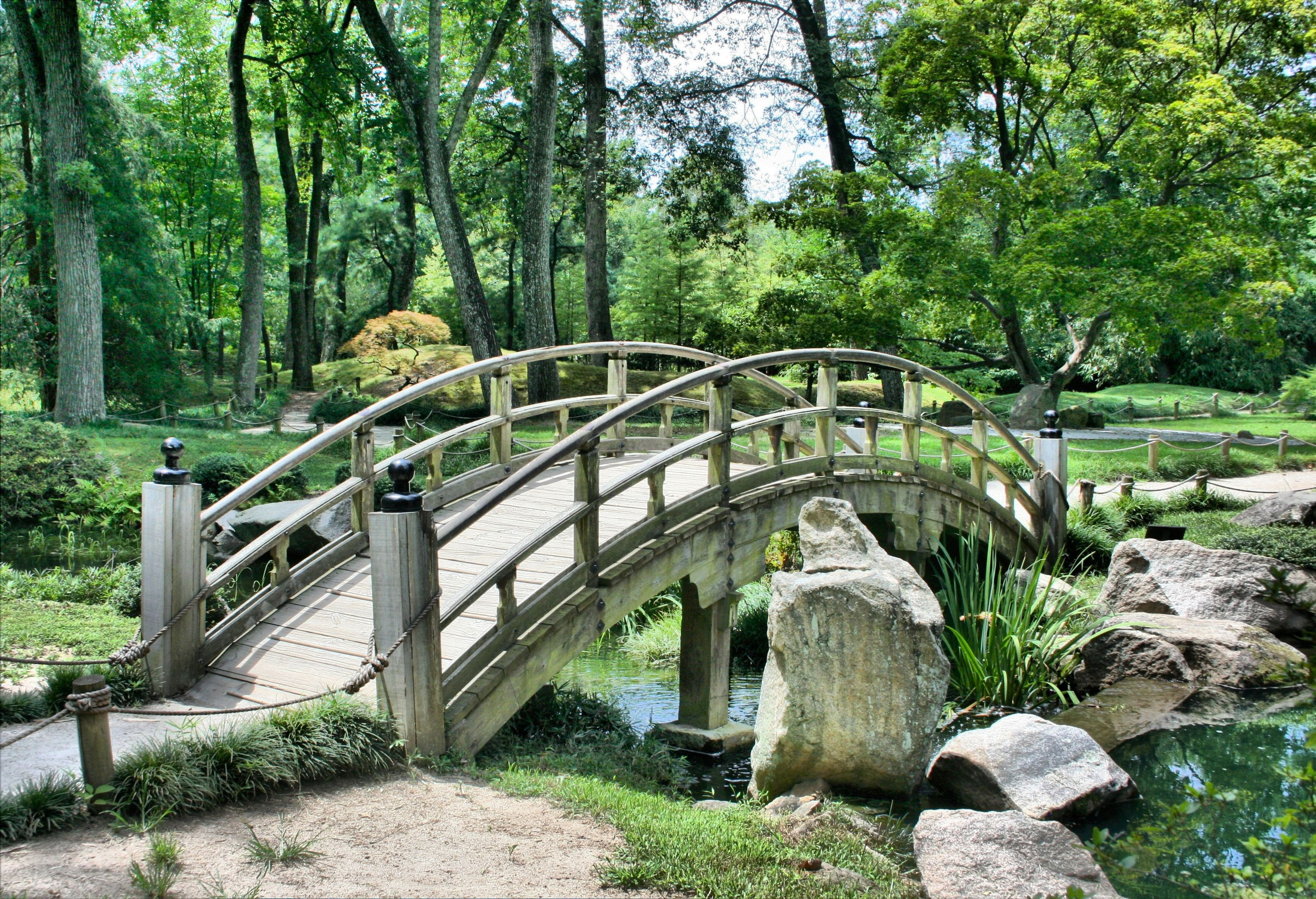 Bridge, park, follage, nature, trees, calm