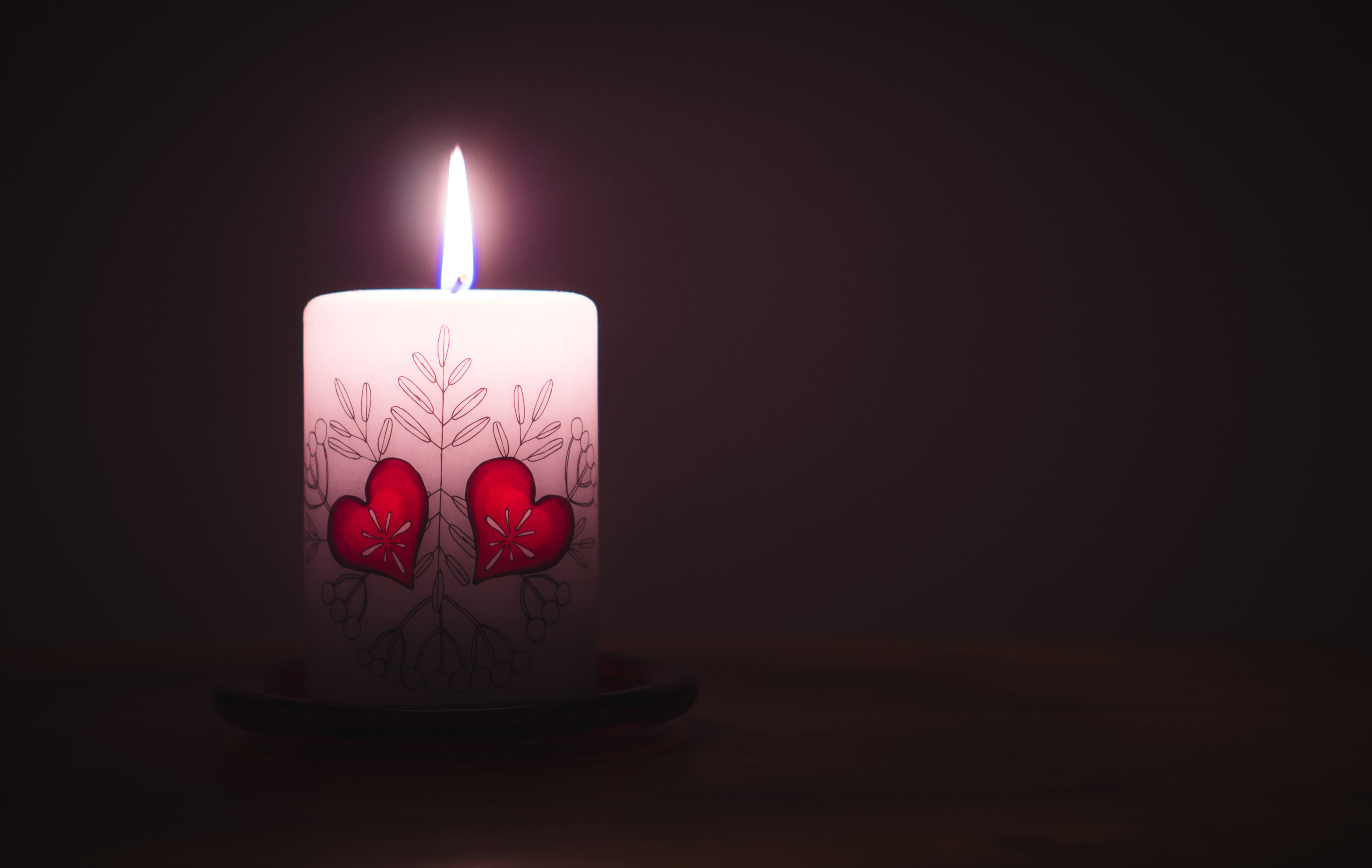heart, candle, flame, love, valentine,