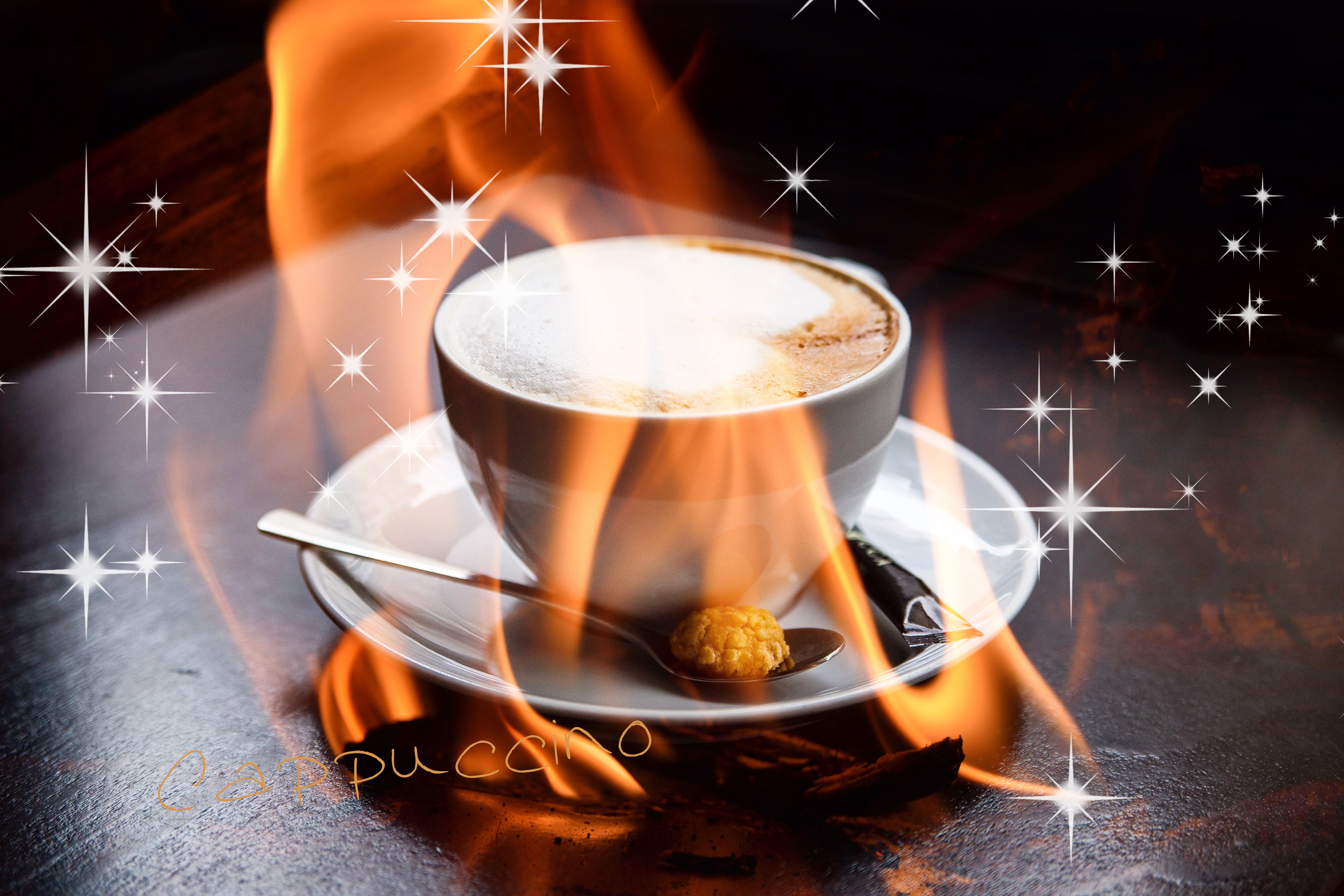 Cappuccino, flame, fire, cozy, spoon