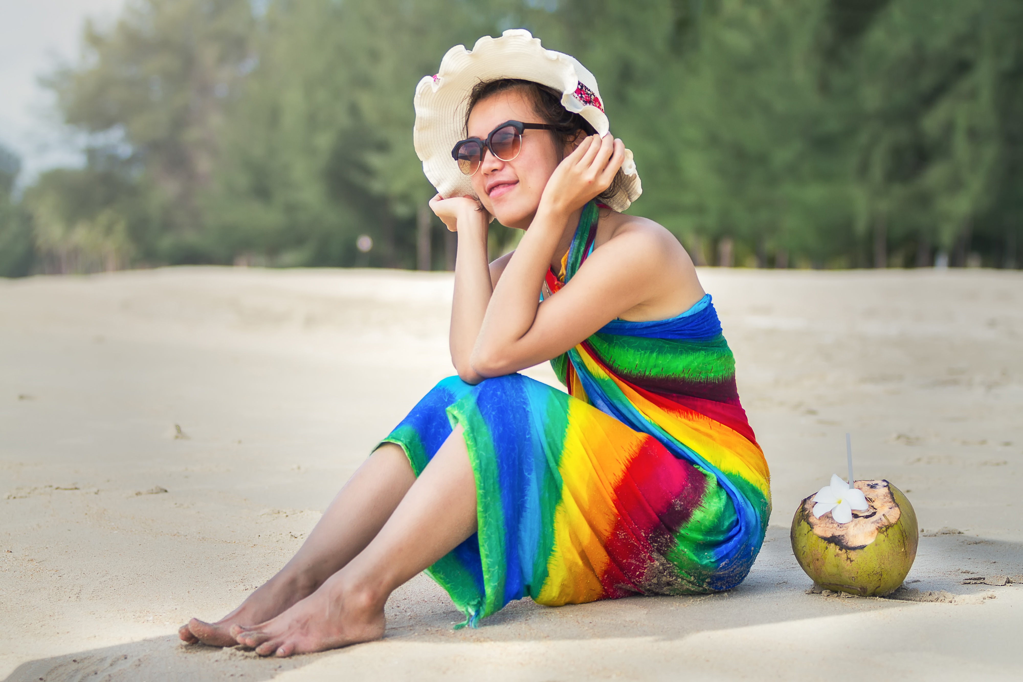 Caucasian people, beach, food, water, young, woman