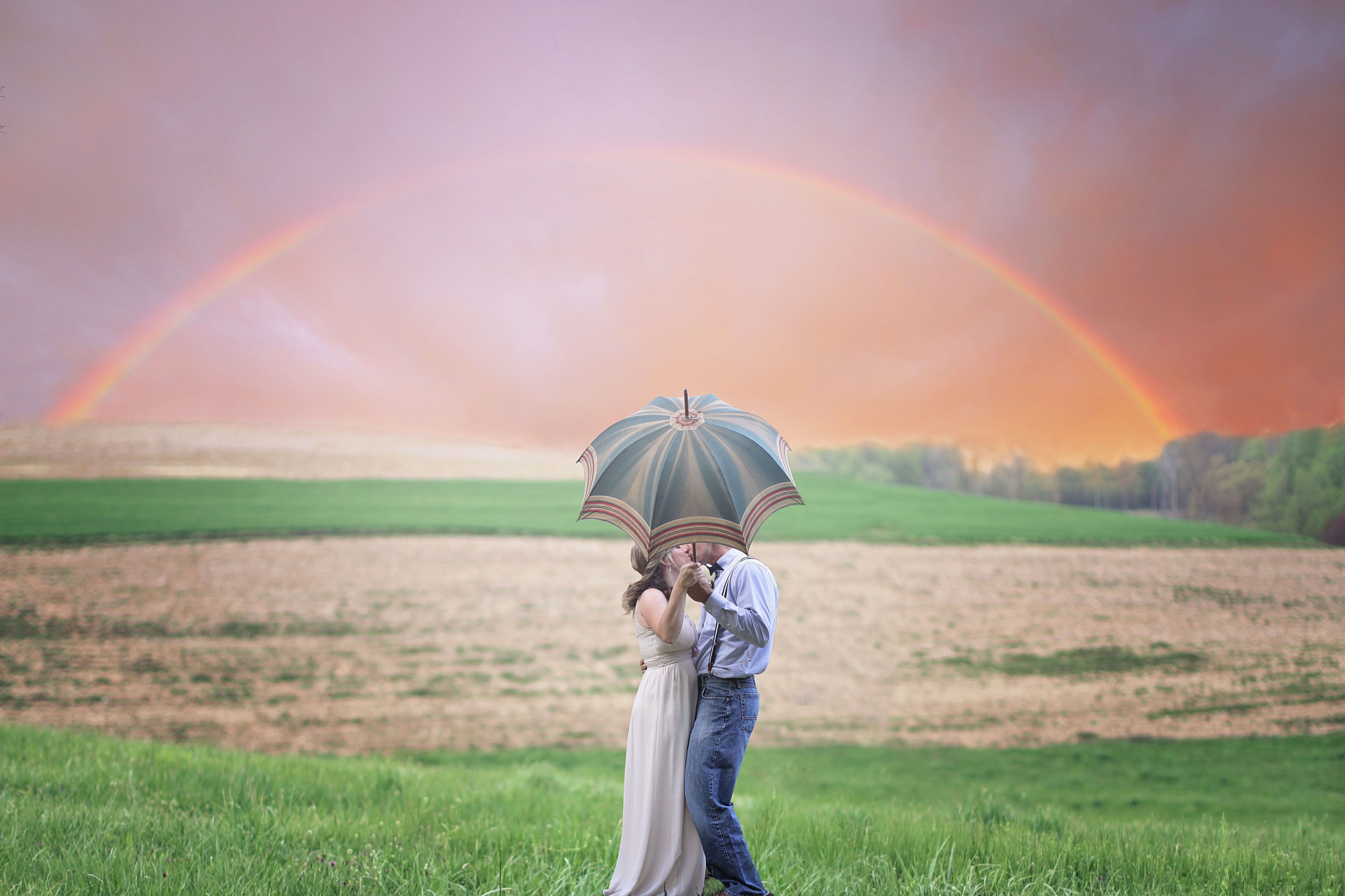 Couple, field, sky, crops, romance