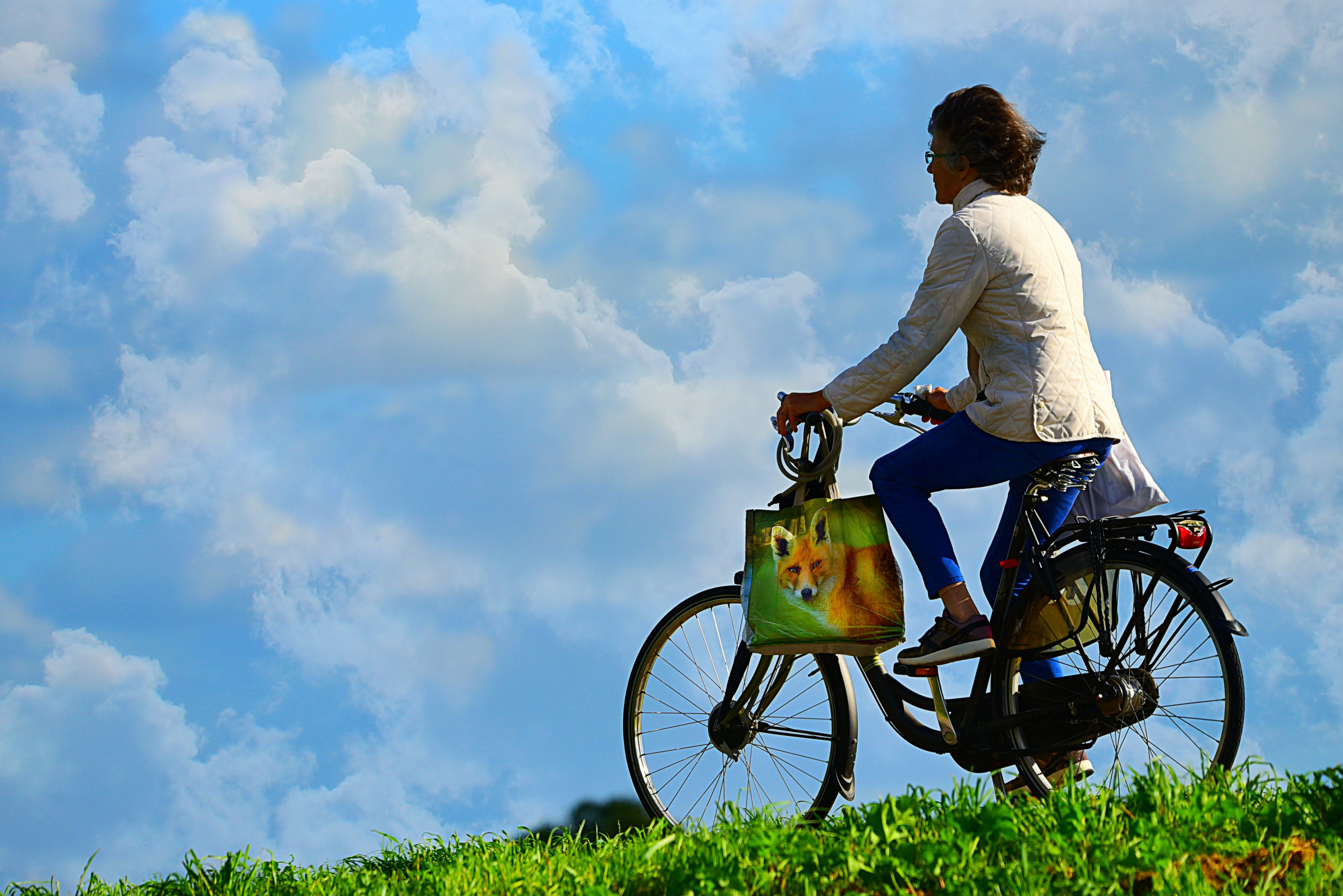 Cyclist,person, cyclist, bicycle, grass