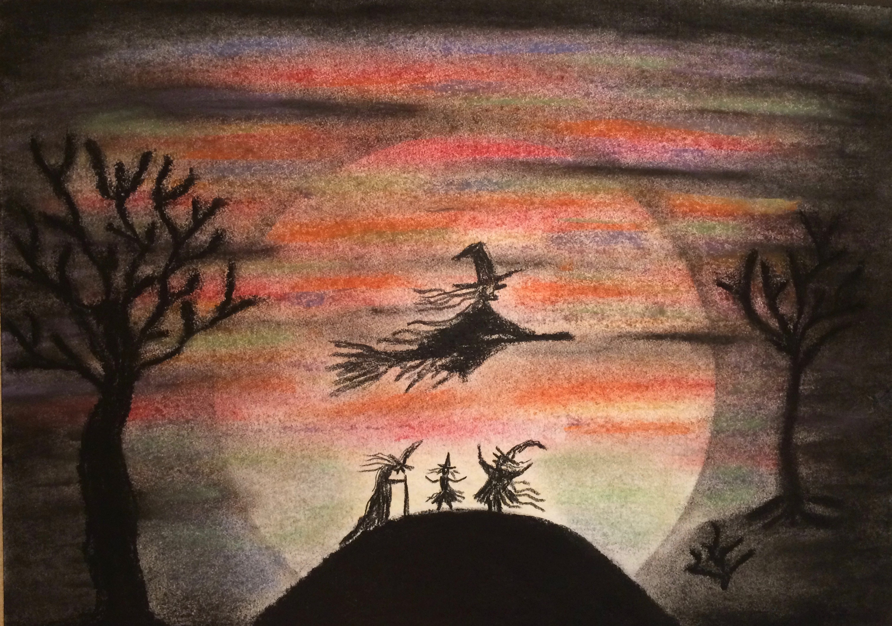 Halloween painting, fly,  forest, party, broom