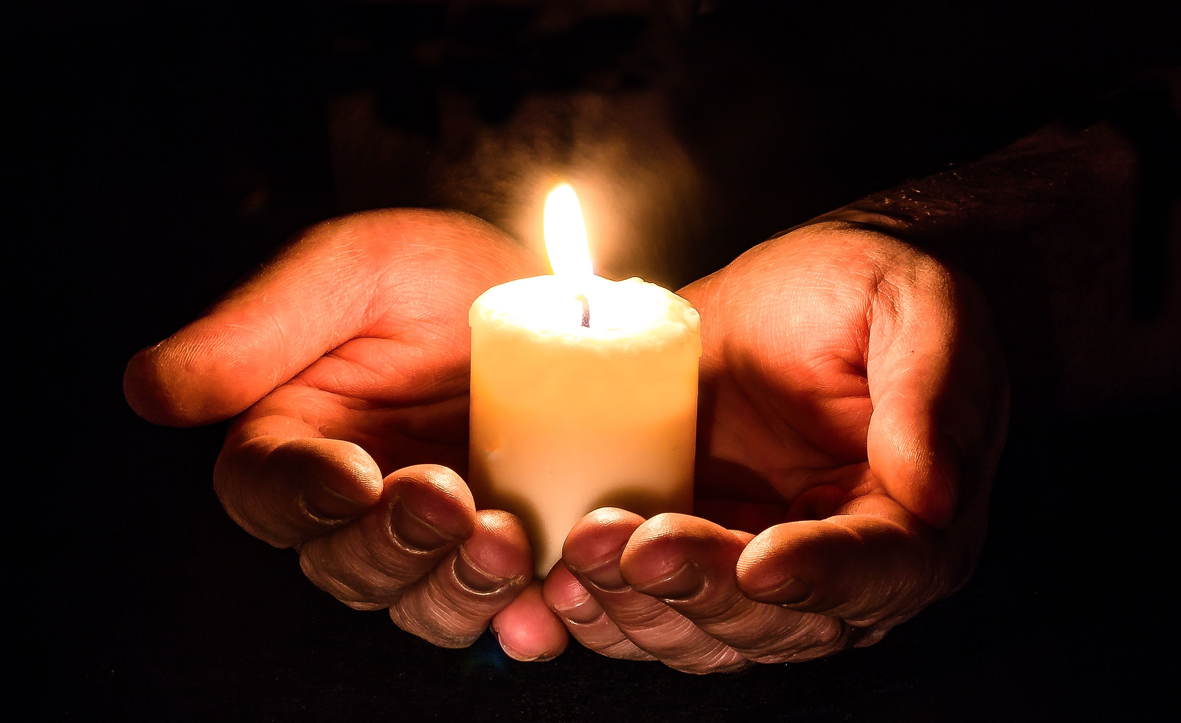 hand, candle, open, prayer,