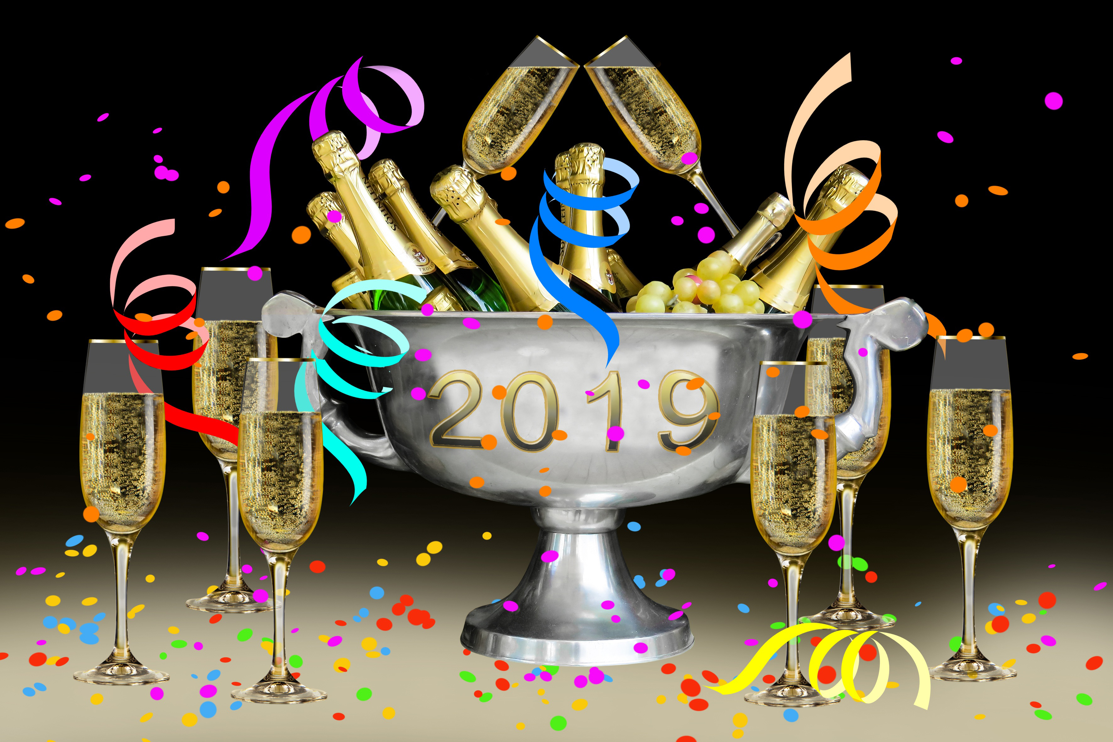 new year party ,2019,festival,luck,bucket, wine