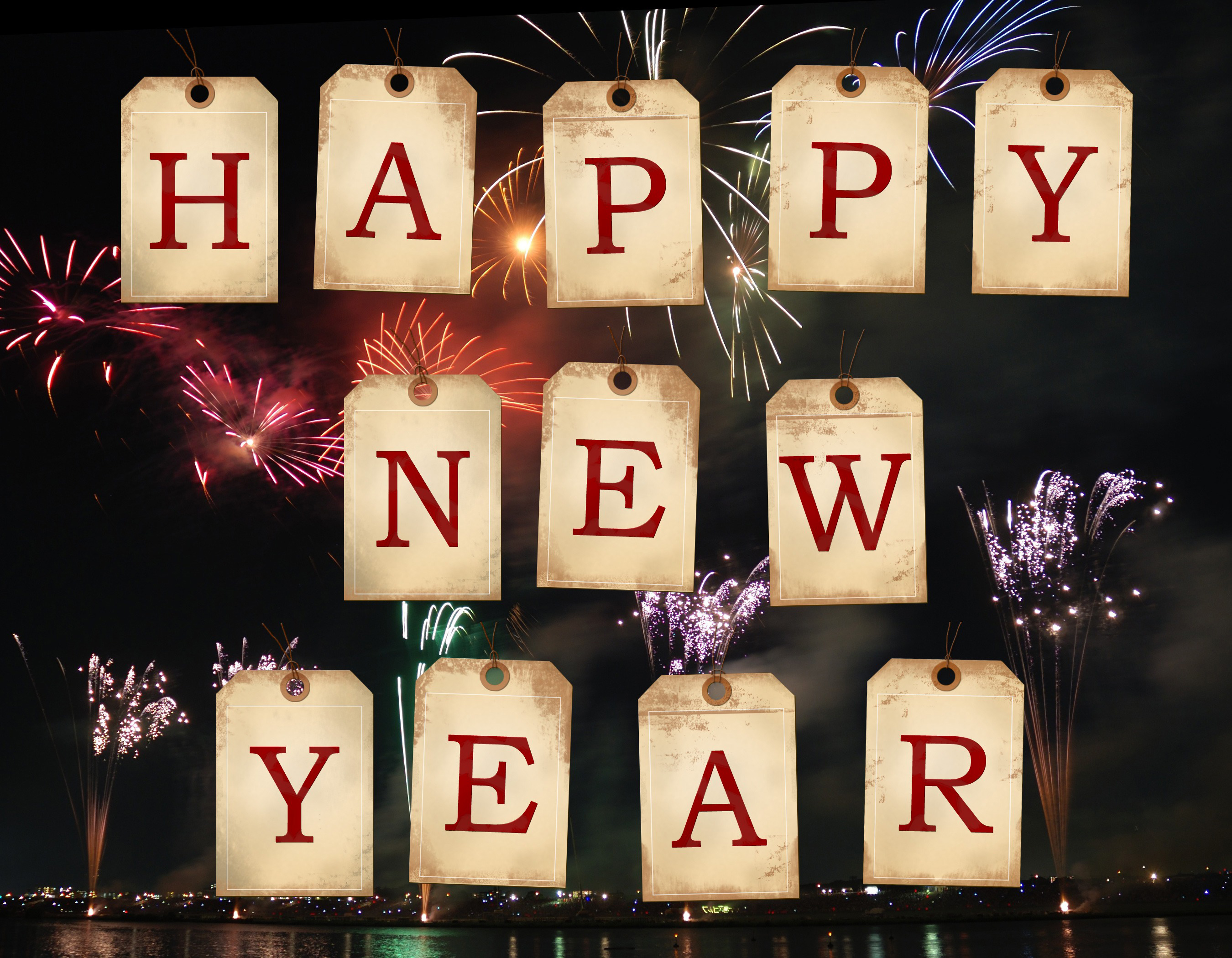 happy new year, firework, tags, letter,