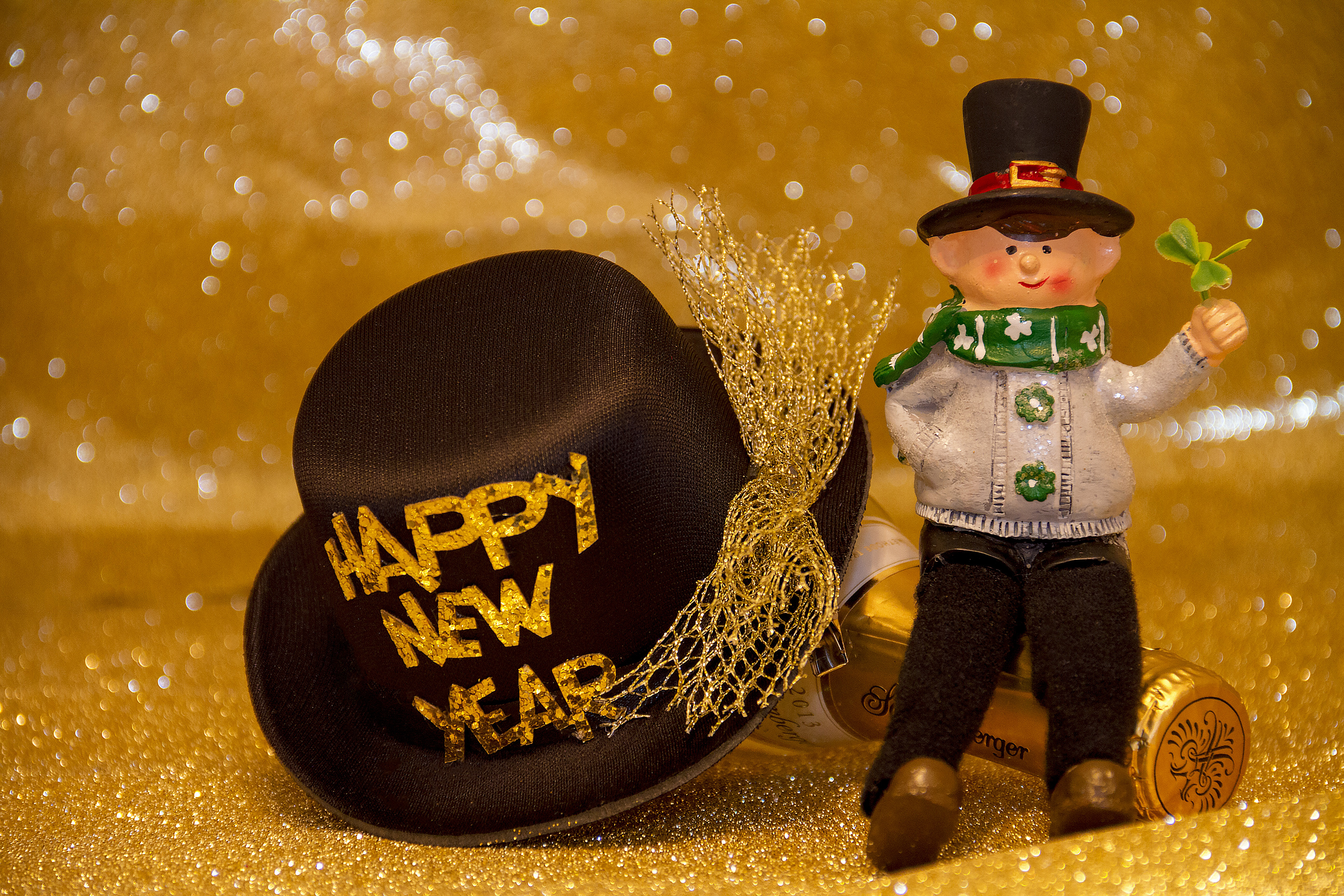 Happy new year, drink, bottle, cap, party