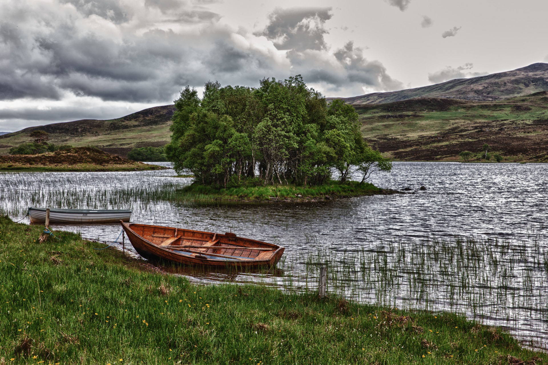 bank, water, boat, scotland,