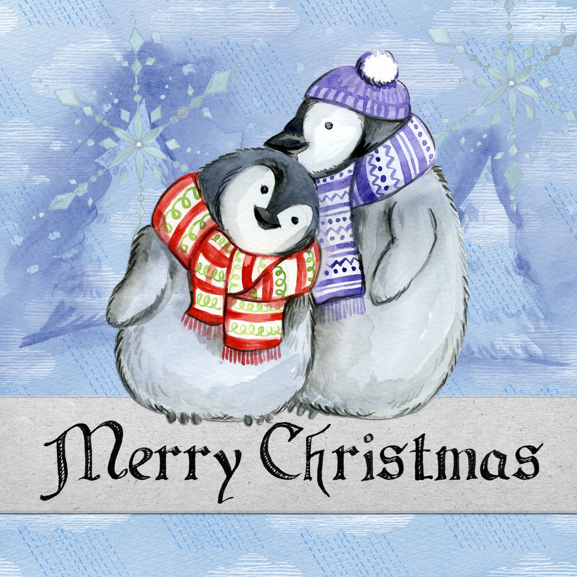 merry christmas, penguin, card, decorative