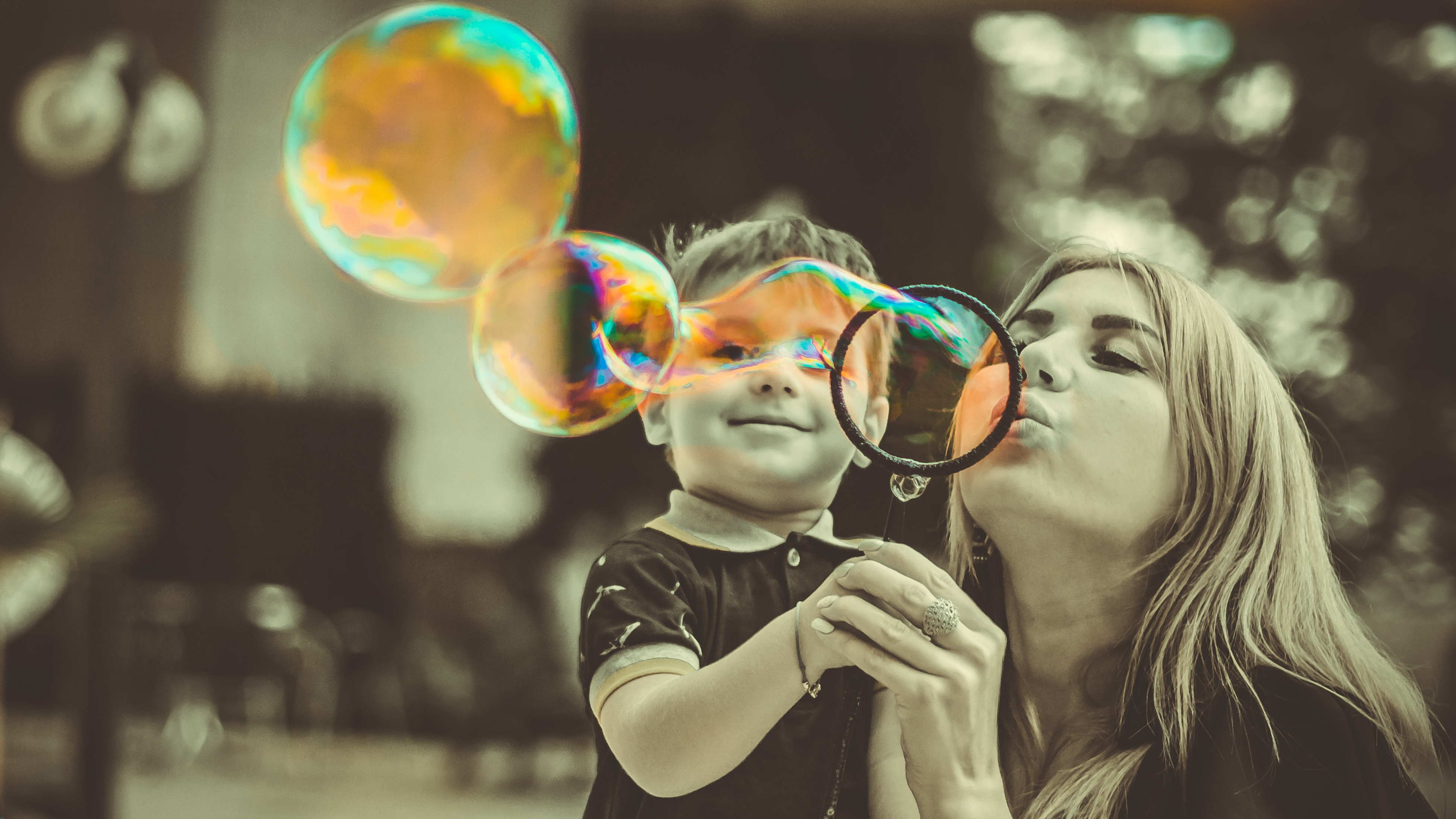 Mother love, family, mom, bubbles