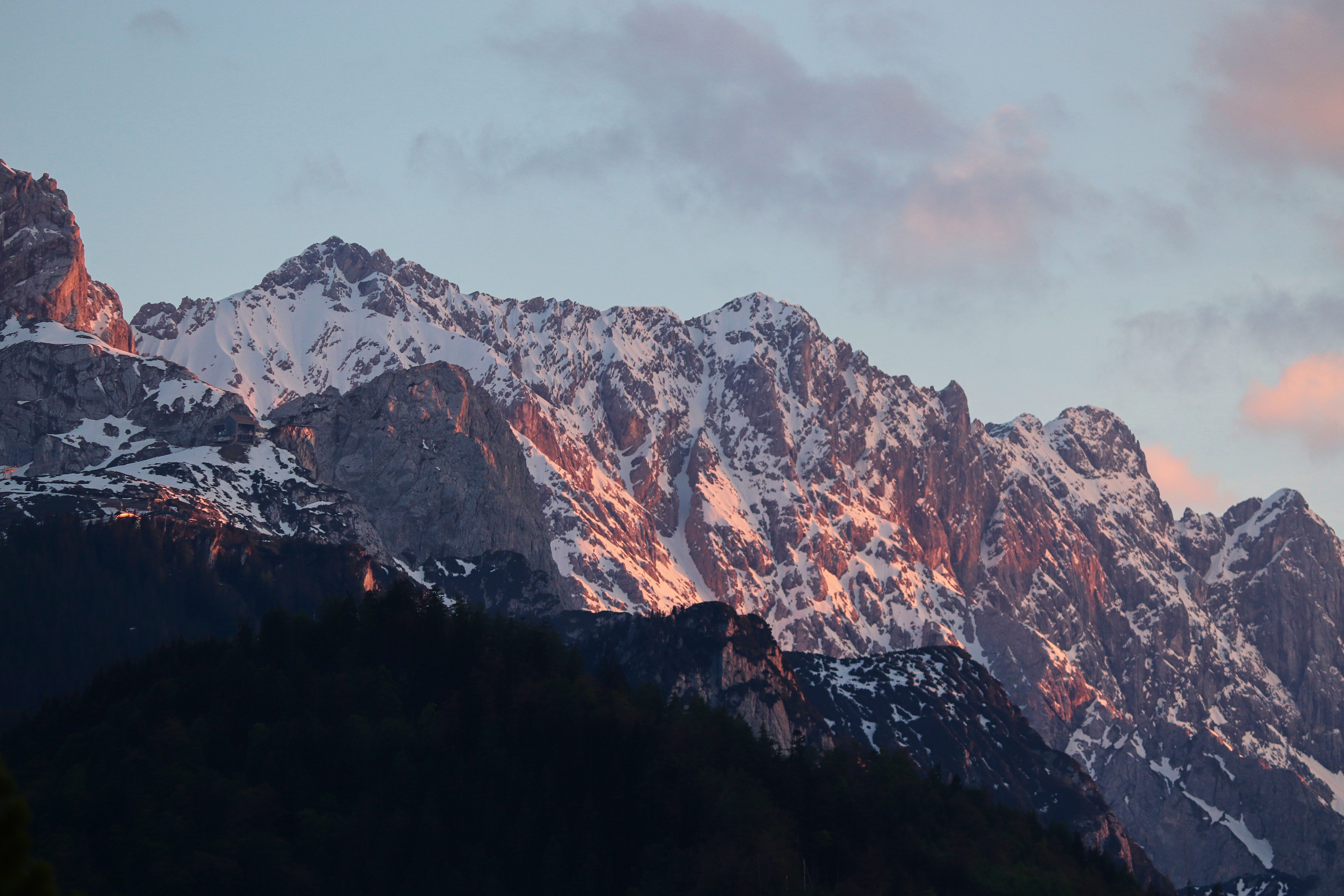 sky, alpine, evening light, mountains, summit, forest,