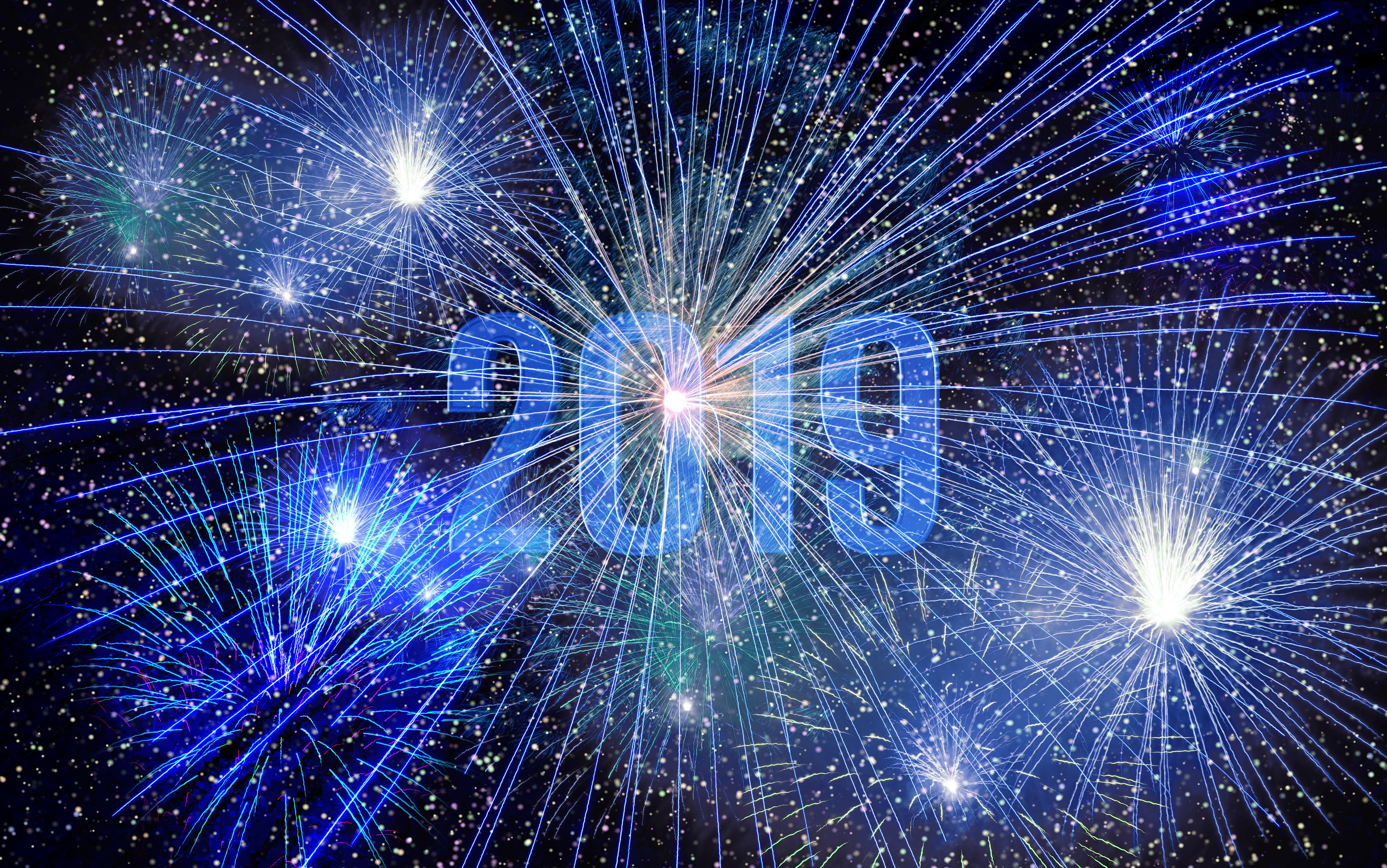 new year party ,2019, midnight, light, star effects,
