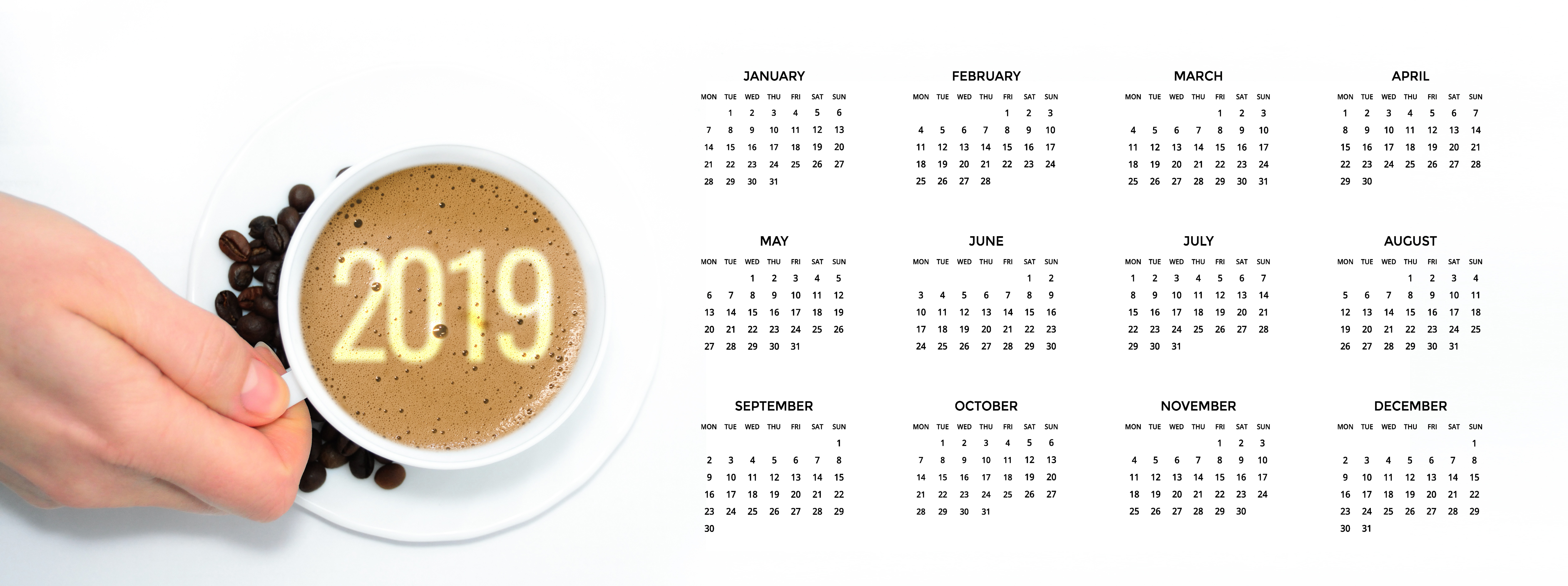 new year, 2019, coffee, cup, hand,