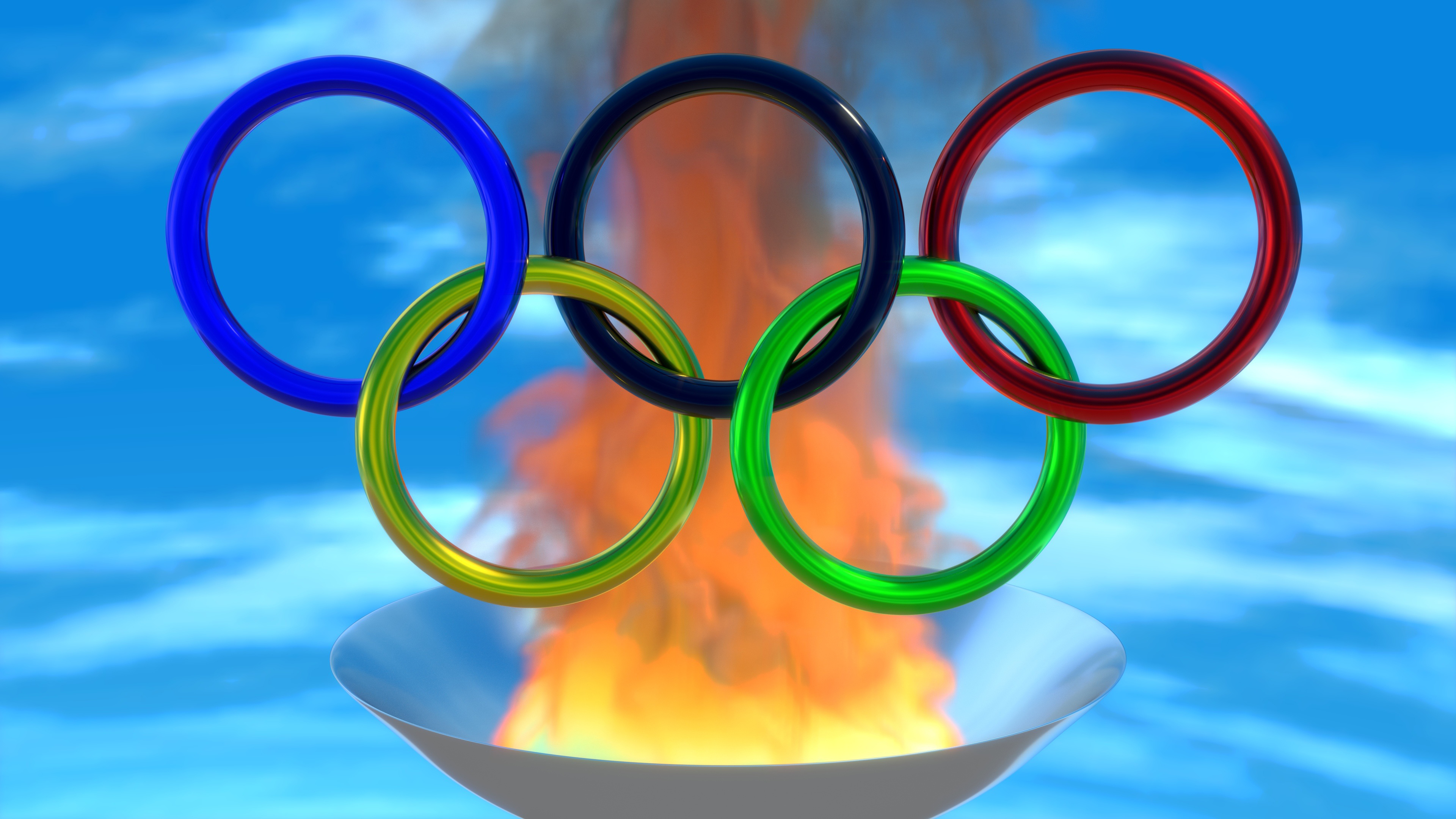 Olympiad ring, sport ,fire, smoke,