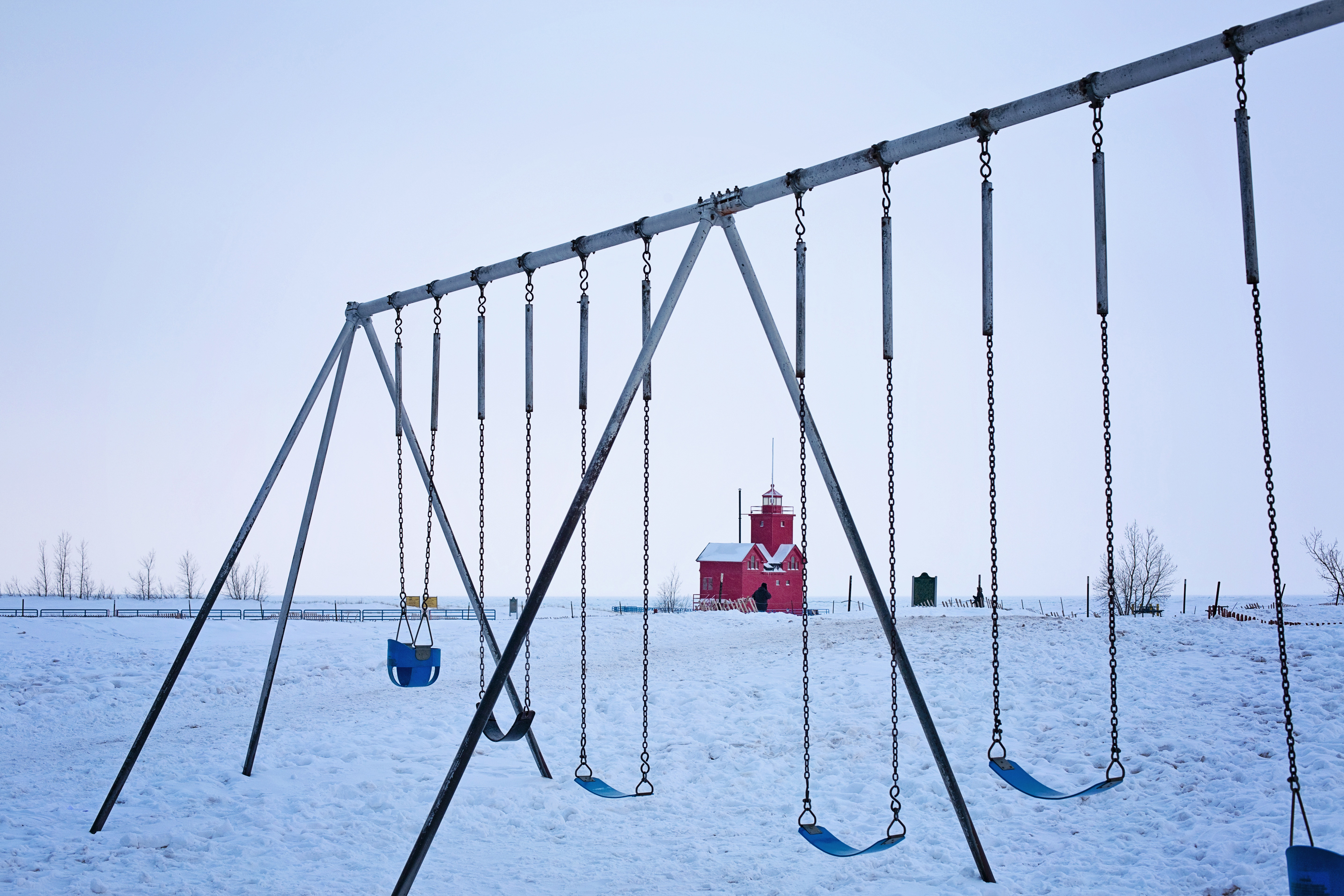 Playground,swing,winter,ice,house