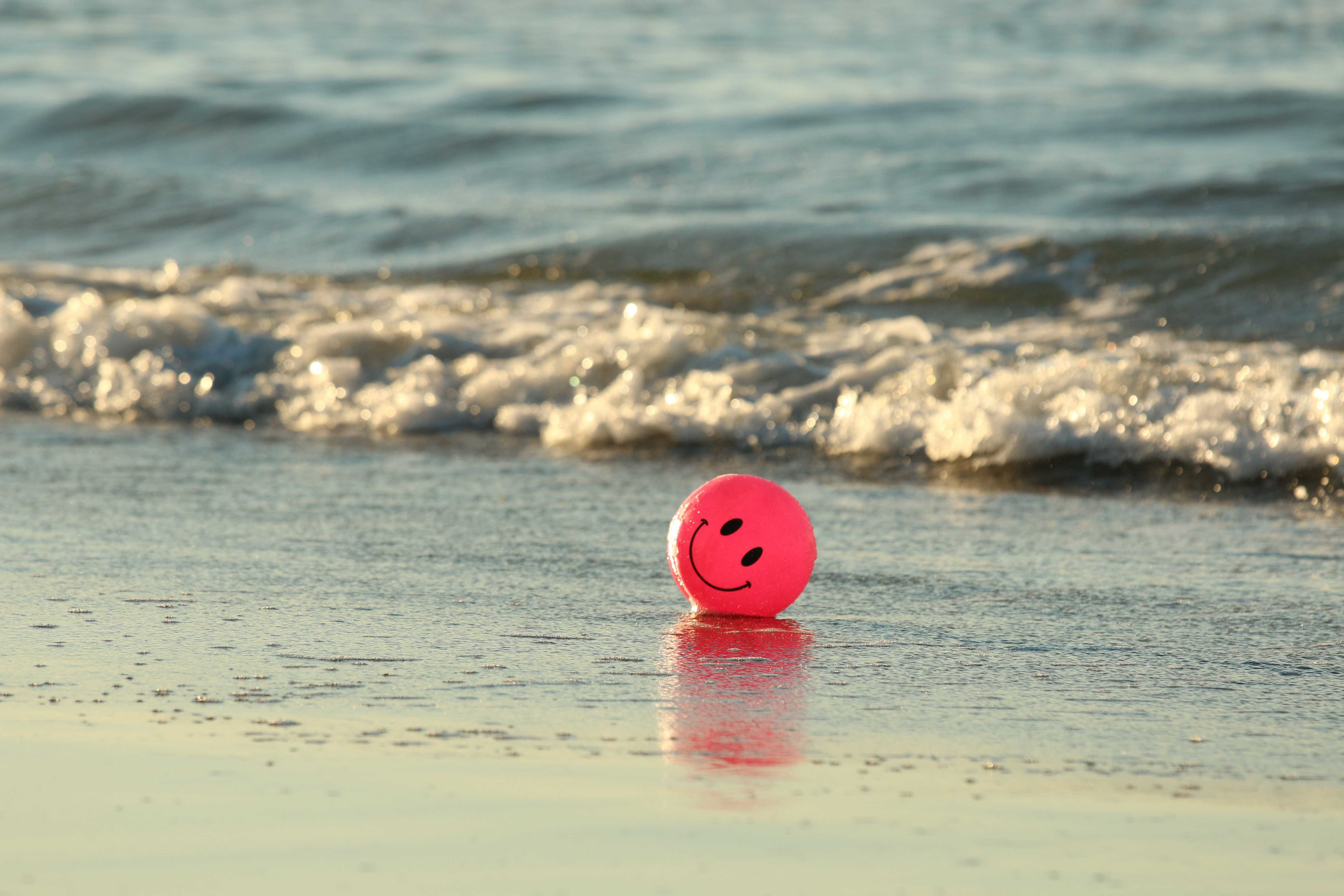 ball, beach, happy, pink, smile