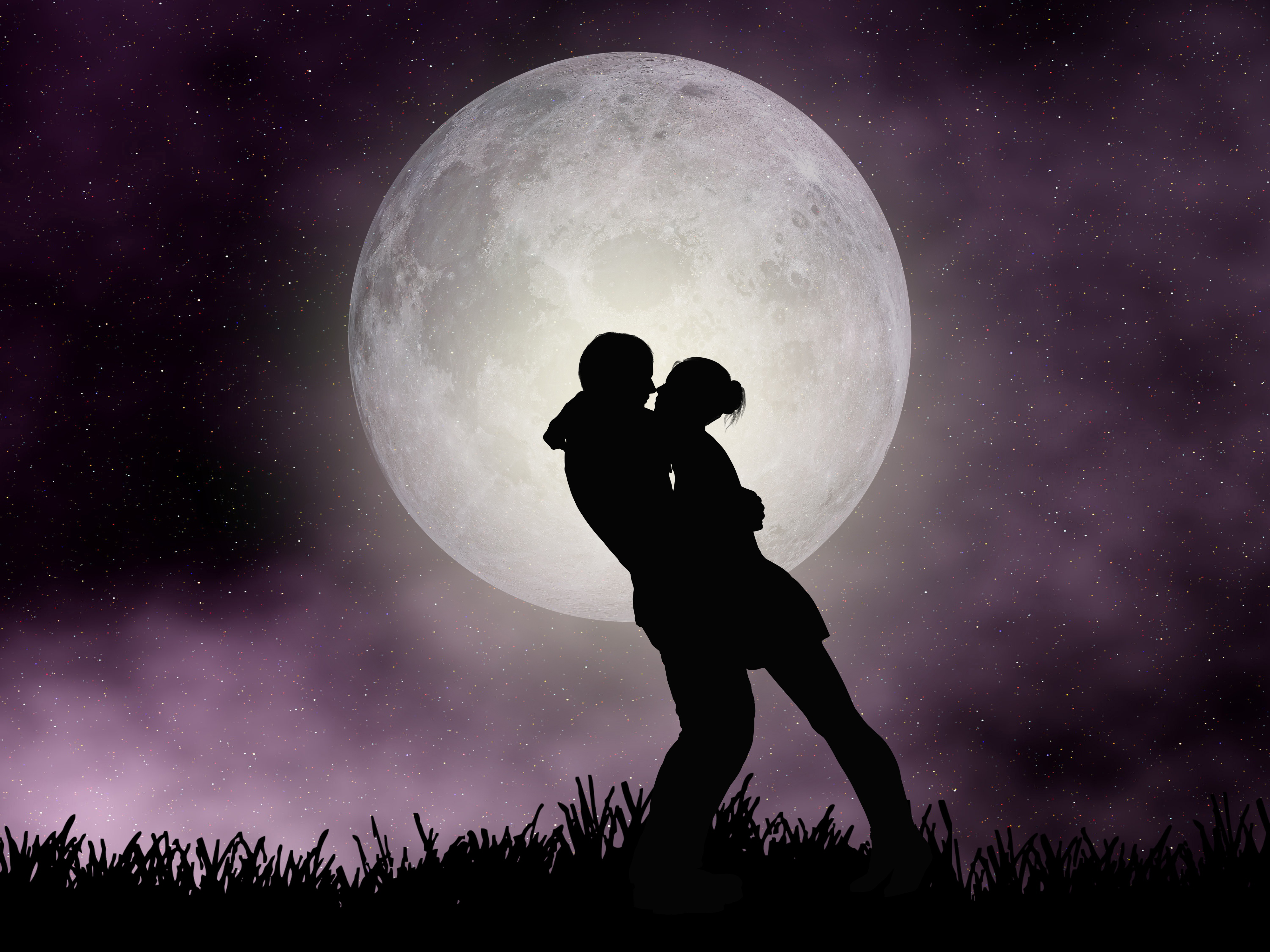 couple, moon, lover, lovely, romantic night, hug