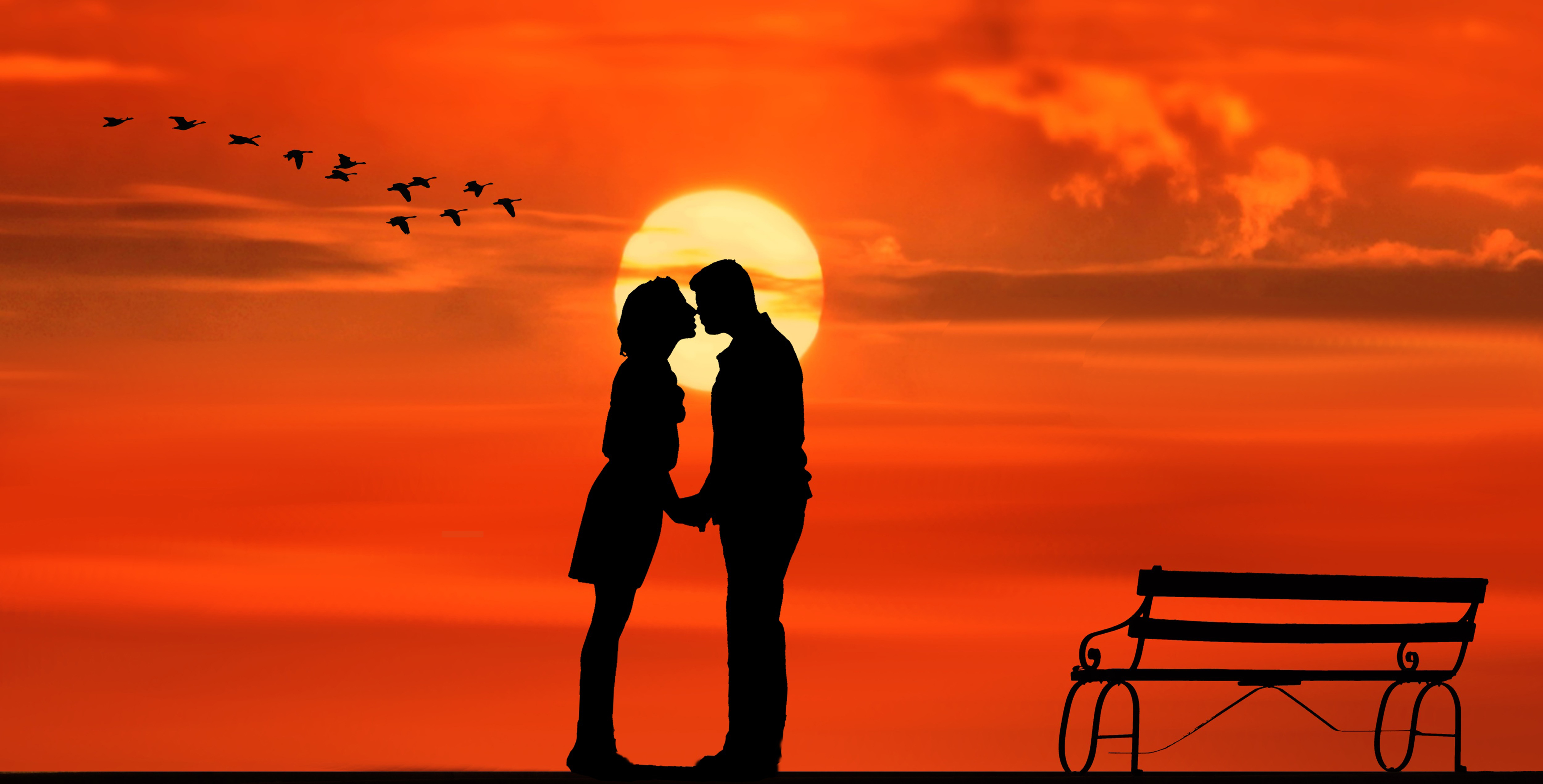 sunset, pair, lovers, kiss, bank