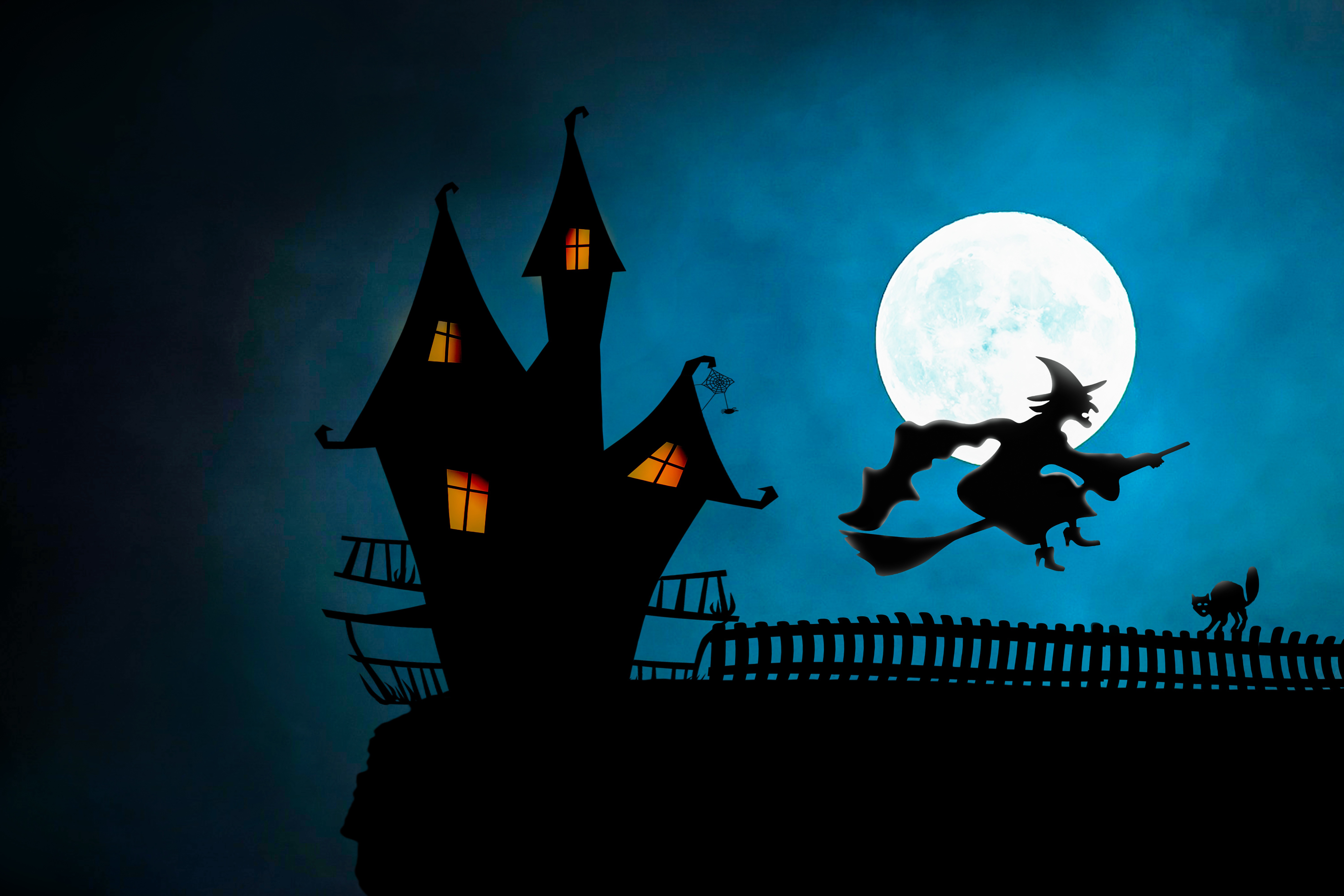 witch , fly , broomstick, halloween