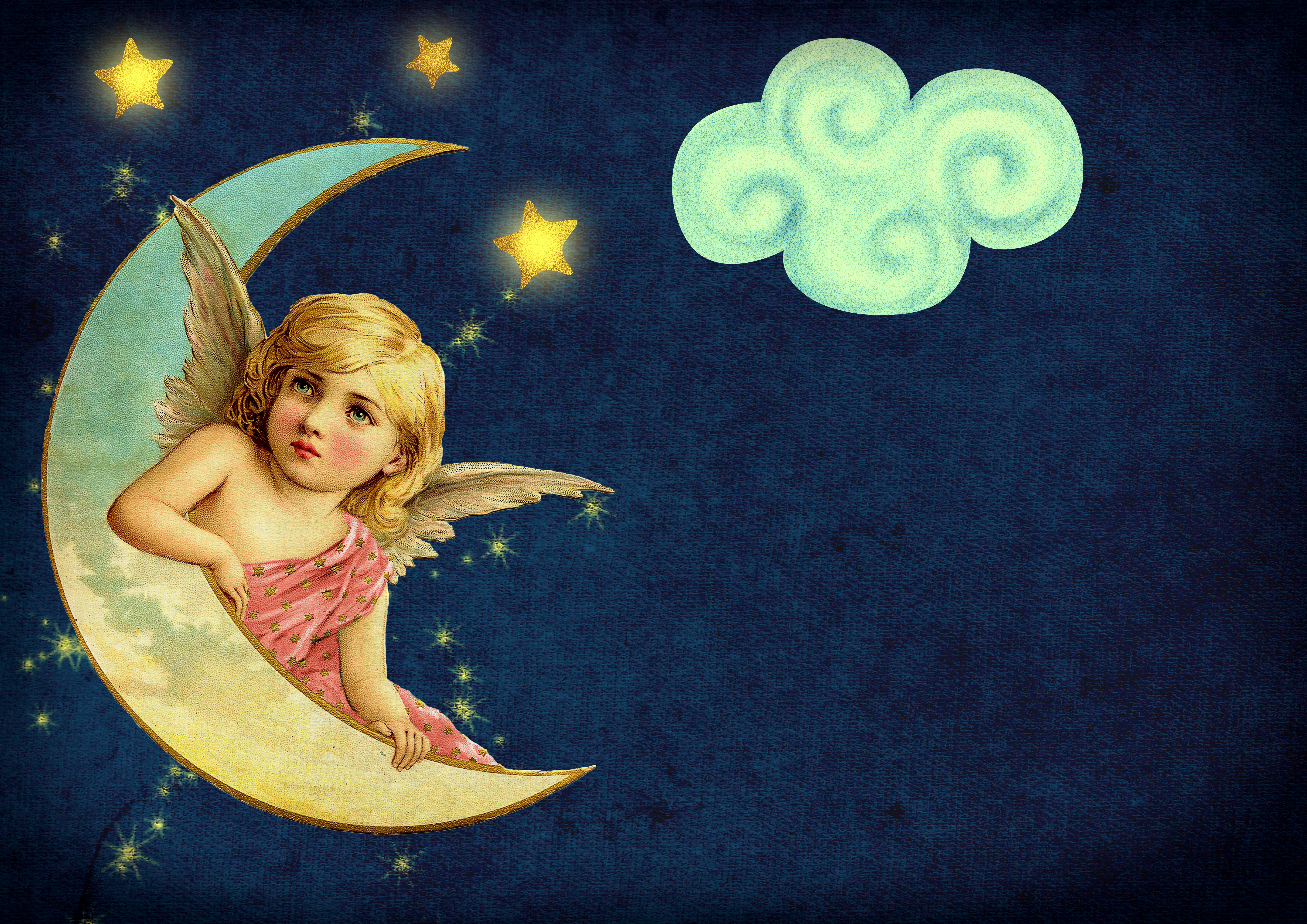 vintage, moon, angle, star, clouds,