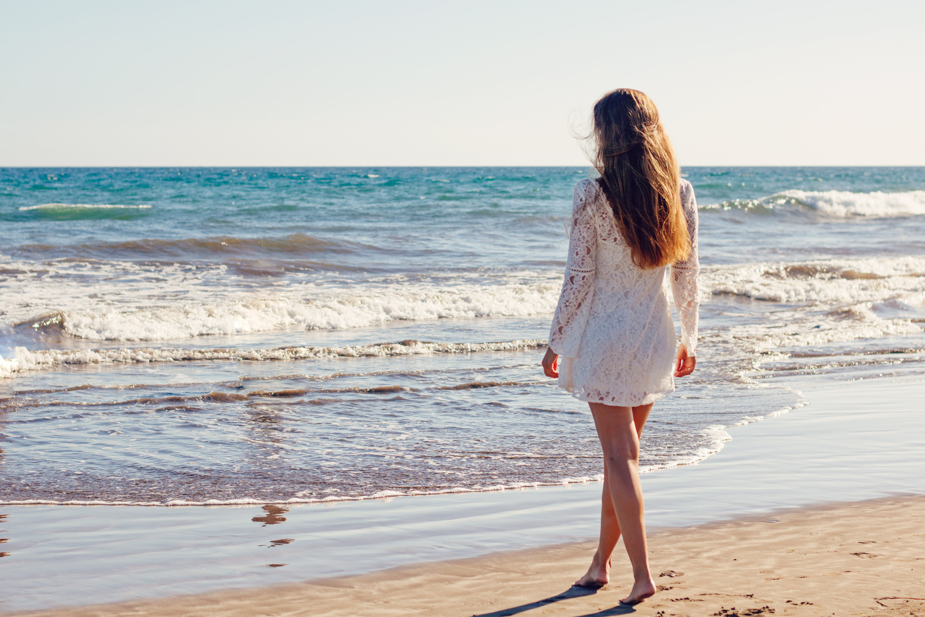 Young woman,alone,sea,sexy